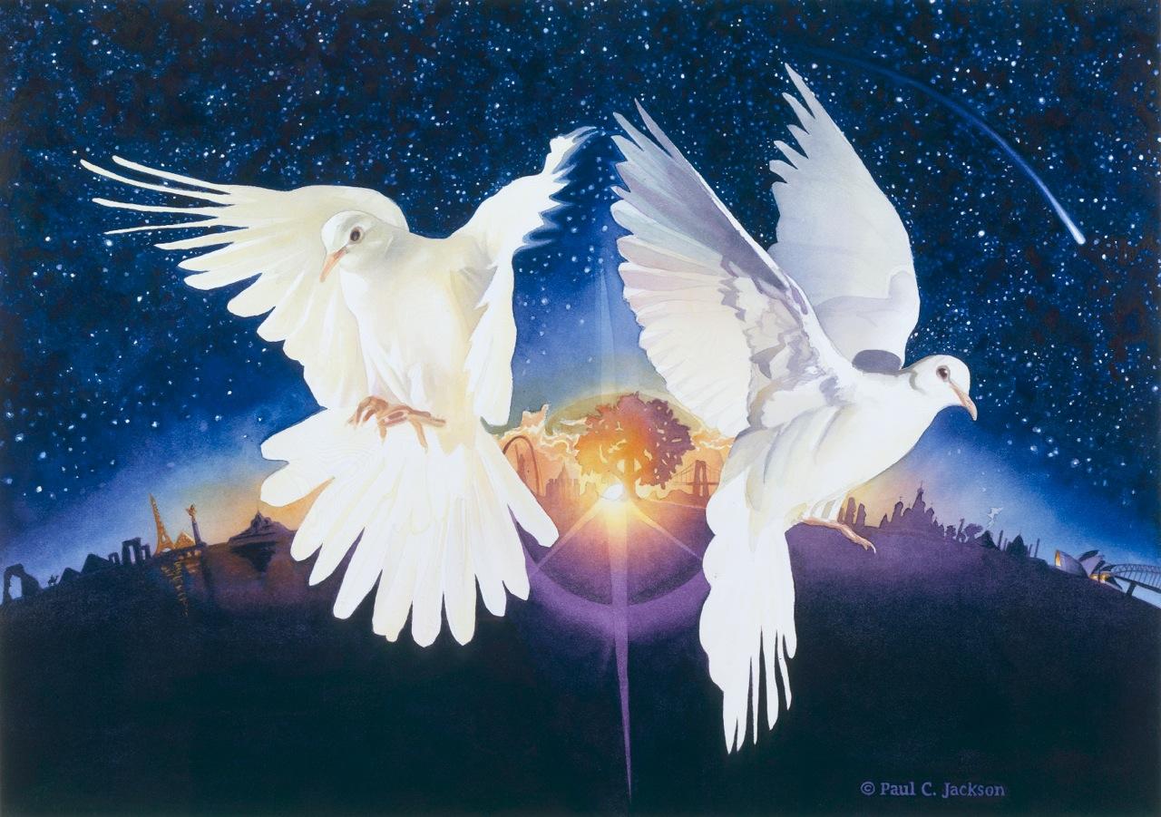 Анимация картинки два голубя